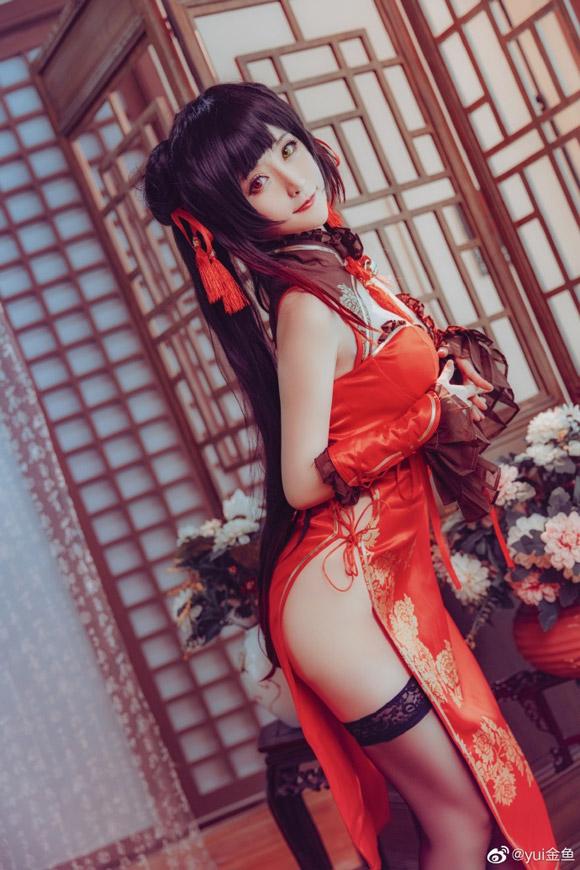 《约会大作战》时崎狂三桃花旗袍Cosplay【CN:yui金鱼】 (9P)-第9张