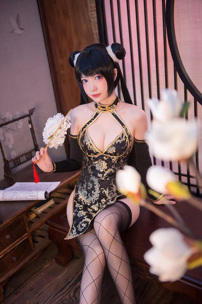 冬月茉莉黑色旗袍诱惑cos【CN:妖少you1】 (8P)-第4张